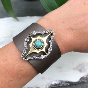 Lucky Brand Brown Leather Cuff Bracelet